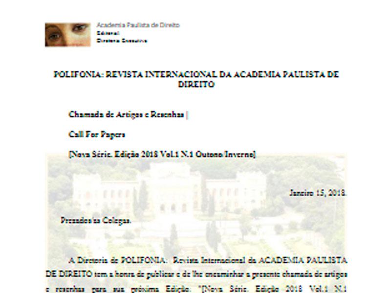 Academia Paulista de Direito Revista Call for Papers Outono PT BR 2018