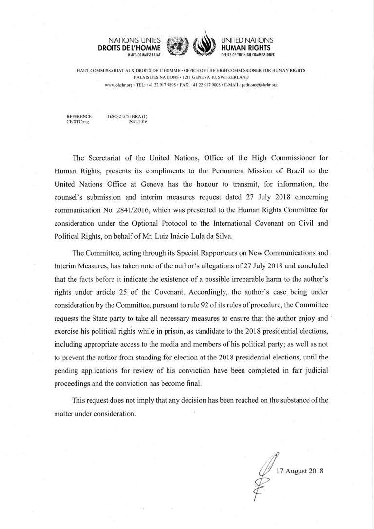 Sobre a decisão do Comitê de Direitos Humanos da ONU