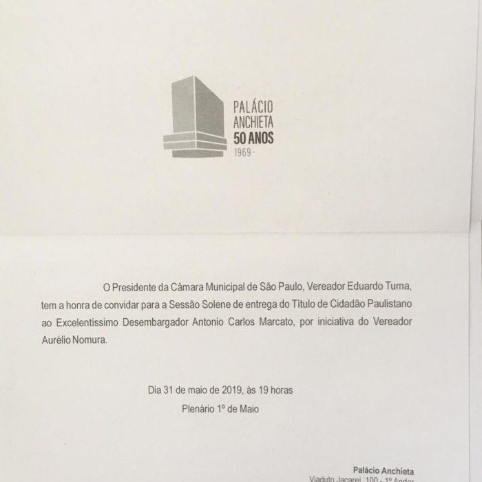 Antonio Carlos Marcato recebe homenagem da Cidade de São Paulo