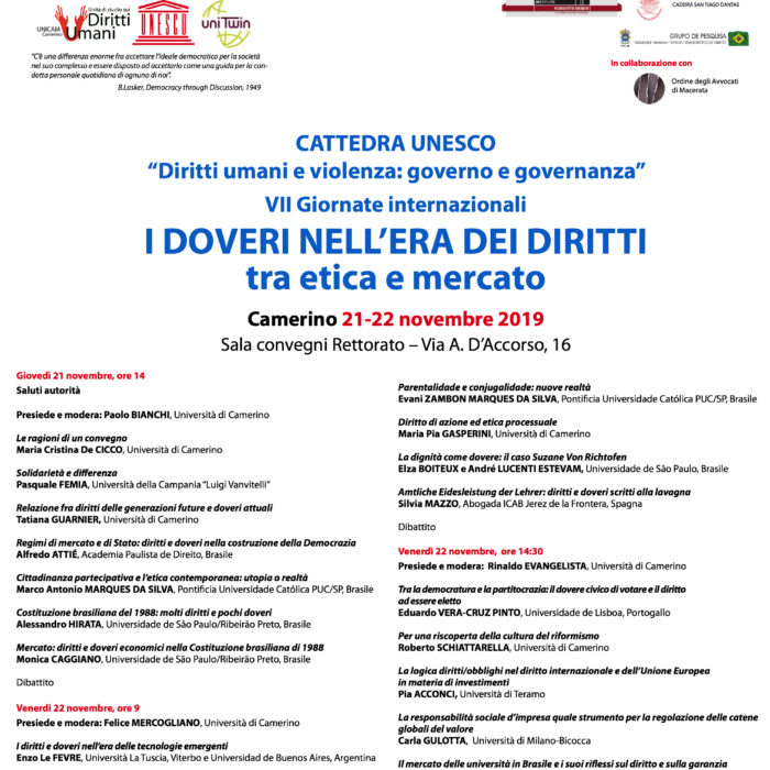 Cátedra Unesco e Università degli Studi di Camerino realizam 7a Jornada Internacional