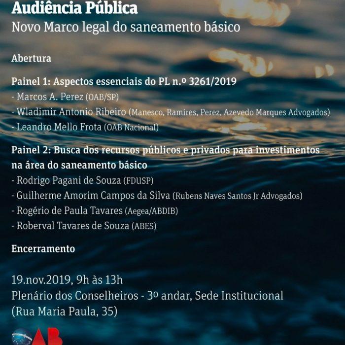 Audiência Pública: Novo Marco Legal do Saneamento Básico